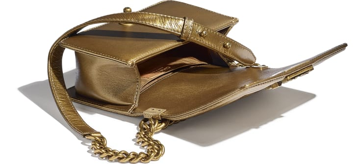 image 3 - Small BOY CHANEL Handbag - Metallic Calfskin, Enamel & Gold-Tone Metal - Gold