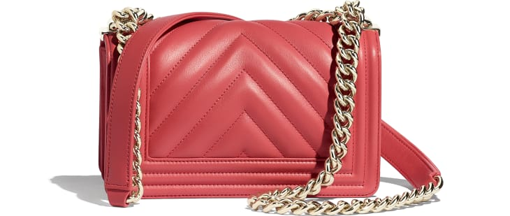image 2 - Small BOY CHANEL Handbag - Calfskin & Gold-Tone Metal - Pink