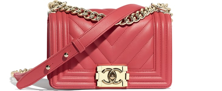 image 1 - Small BOY CHANEL Handbag - Calfskin & Gold-Tone Metal - Pink