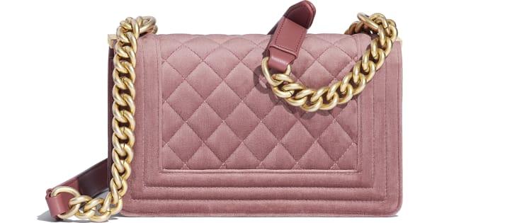image 2 - Small BOY CHANEL Handbag - Velvet & Gold-Tone Metal - Pink
