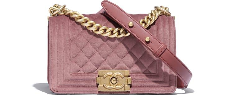 image 1 - Small BOY CHANEL Handbag - Velvet & Gold-Tone Metal - Pink