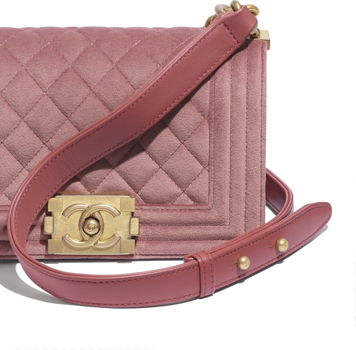 image 4 - Small BOY CHANEL Handbag - Velvet & Gold-Tone Metal - Pink