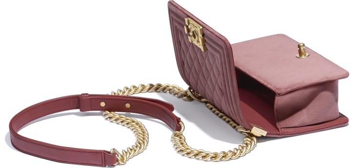 image 3 - Small BOY CHANEL Handbag - Velvet & Gold-Tone Metal - Pink