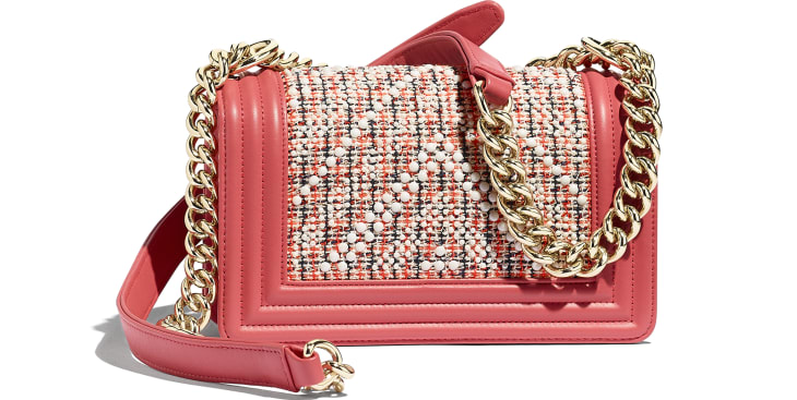 image 2 - Bolsa BOY CHANEL Pequena - Tweed, Couro De Novilho & Metal Dourado - Vermelho, Bege, Azul marinho & Coral