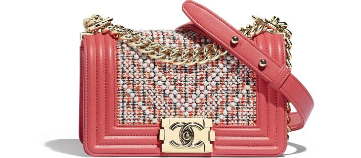 image 1 - Bolsa BOY CHANEL Pequena - Tweed, Couro De Novilho & Metal Dourado - Vermelho, Bege, Azul marinho & Coral