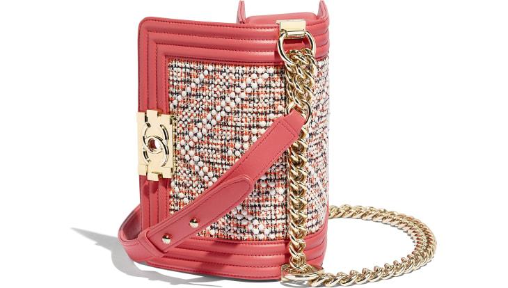 image 3 - Bolsa BOY CHANEL Pequena - Tweed, Couro De Novilho & Metal Dourado - Vermelho, Bege, Azul marinho & Coral