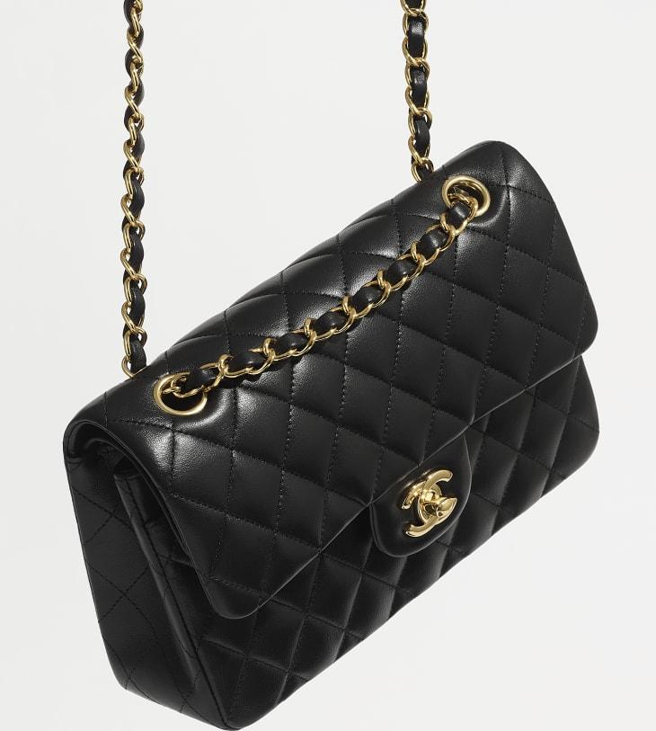image 5 - Small Classic Handbag - Lambskin & Gold-Tone Metal - Black