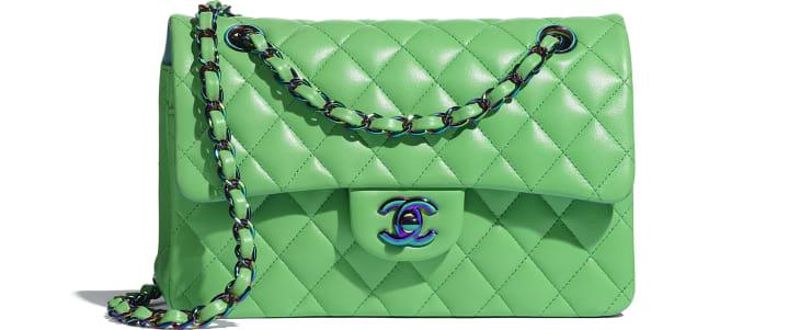 image 1 - Bolsa Clássica Pequena - Lambskin & Rainbow Metal - Verde