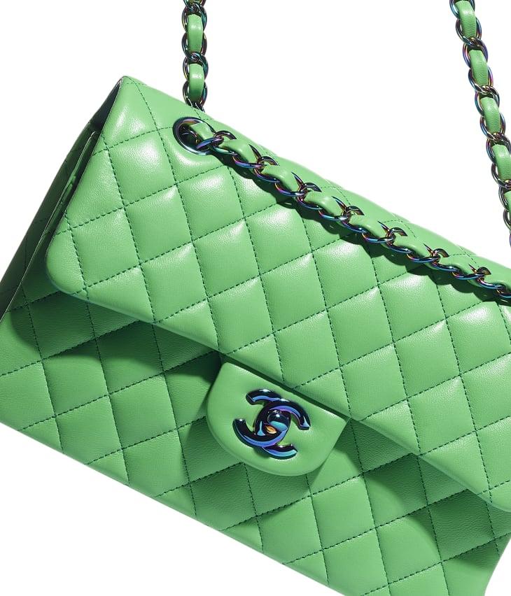 image 4 - Bolsa Clássica Pequena - Lambskin & Rainbow Metal - Verde