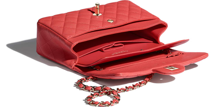 image 3 - Small Classic Handbag - Grained Calfskin & Gold-Tone Metal - Red