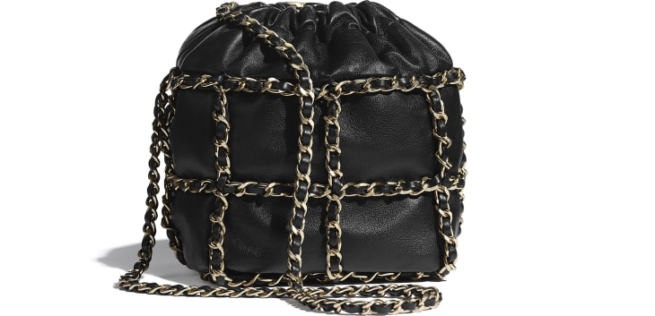 image 2 - Small Drawstring Bag - Lambskin & Gold Metal  - Black