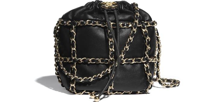 image 1 - Small Drawstring Bag - Lambskin & Gold Metal  - Black