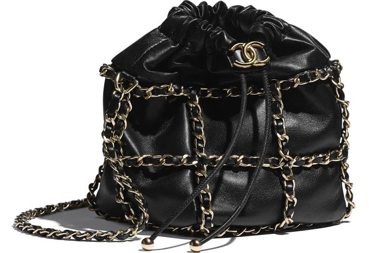 image 4 - Small Drawstring Bag - Lambskin & Gold Metal  - Black