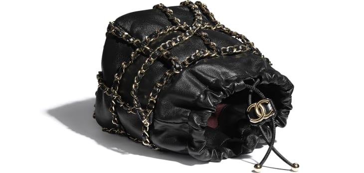 image 3 - Small Drawstring Bag - Lambskin & Gold Metal  - Black