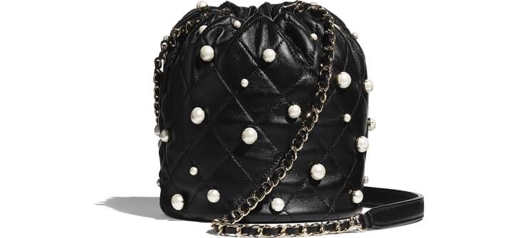 image 2 - Petit sac à fermeture cordon - Agneau, perles d'imitation & métal doré - Noir