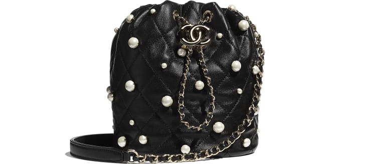 image 1 - Petit sac à fermeture cordon - Agneau, perles d'imitation & métal doré - Noir