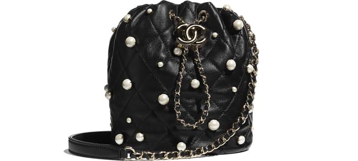 image 1 - Small Drawstring Bag - Lambskin, Imitation Pearls & Gold-Tone Metal - Black