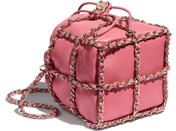 image 4 - Small Drawstring Bag - Lambskin & Gold Metal  - Coral