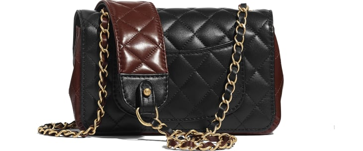 image 2 - Petit sac à rabat - Veau & métal doré - Noir & marron