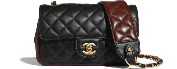 image 1 - Petit sac à rabat - Veau & métal doré - Noir & marron
