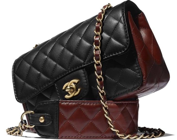 image 4 - Petit sac à rabat - Veau & métal doré - Noir & marron