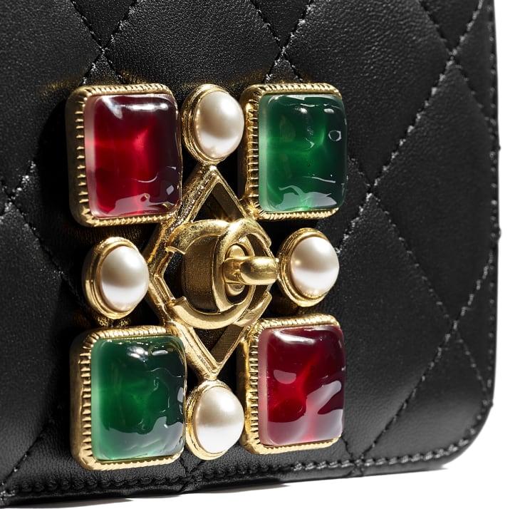 image 4 - Bolsa Pequena - Couro de Novilho, Pérolas de Cristal, Resina & Metal Dourado - Preto