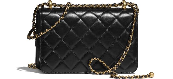 image 2 - Small Flap Bag - Calfskin & Gold-Tone Metal - Black