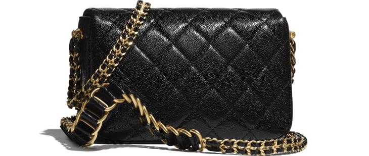 image 2 - Small Flap Bag - Grained Calfskin & Gold-Tone Metal - Black