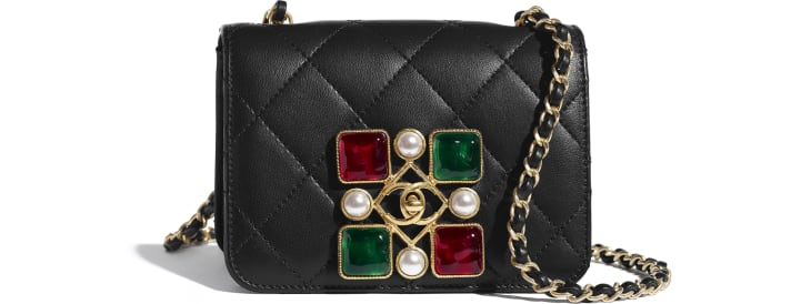 image 1 - Small Flap Bag - Calfskin, Crystal Pearls, Resin & Gold-Tone Metal - Black, Red & Green