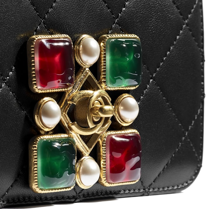 image 4 - Small Flap Bag - Calfskin, Crystal Pearls, Resin & Gold-Tone Metal - Black, Red & Green