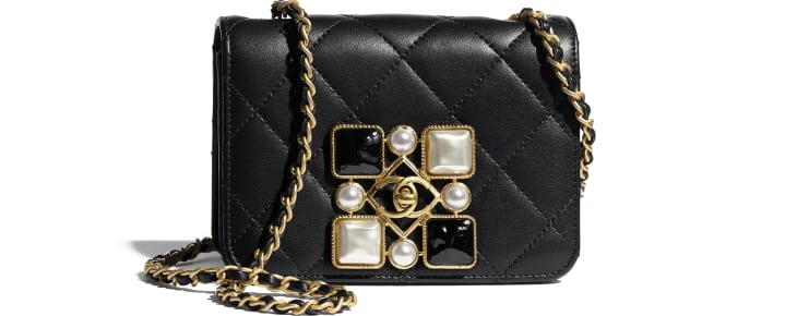 image 1 - Small Flap Bag - Calfskin, Crystal Pearls, Resin & Gold-Tone Metal - Black & White