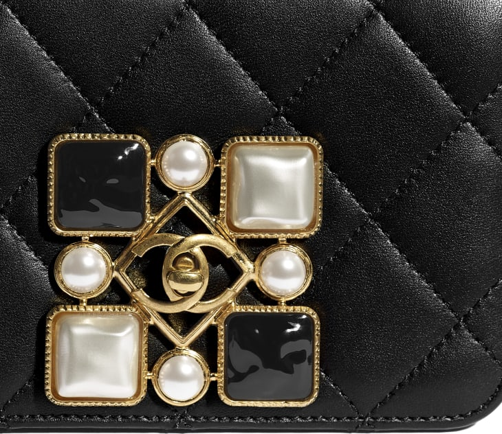 image 4 - Small Flap Bag - Calfskin, Crystal Pearls, Resin & Gold-Tone Metal - Black & White