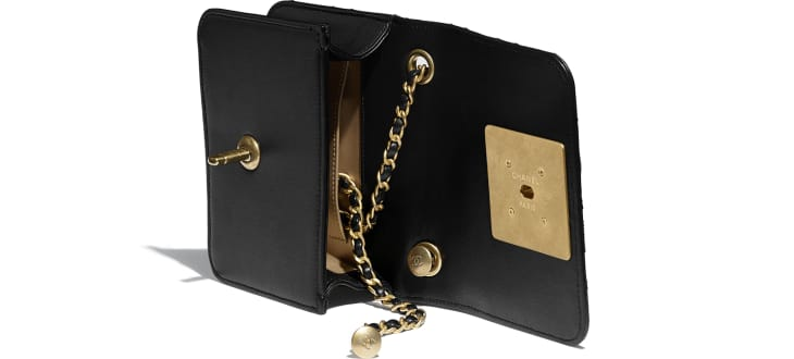 image 3 - Small Flap Bag - Calfskin, Crystal Pearls, Resin & Gold-Tone Metal - Black & White
