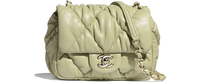 image 1 - Small Flap Bag - Calfskin & Gold-Tone Metal - Green
