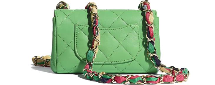image 2 - Small Flap Bag - Lambskin, Mixed Fibers & Gold-Tone Metal - Green