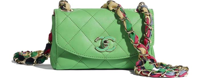 image 1 - Small Flap Bag - Lambskin, Mixed Fibers & Gold-Tone Metal - Green