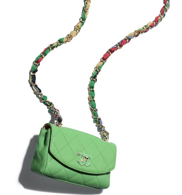 image 4 - Small Flap Bag - Lambskin, Mixed Fibers & Gold-Tone Metal - Green