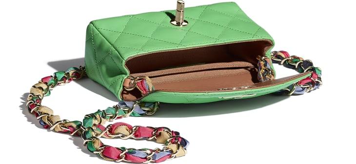 image 3 - Small Flap Bag - Lambskin, Mixed Fibers & Gold-Tone Metal - Green
