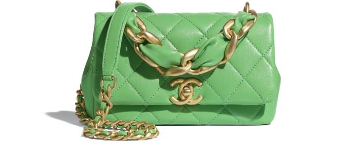 image 1 - Small Flap Bag - Shiny Lambskin & Gold-Tone Metal - Green
