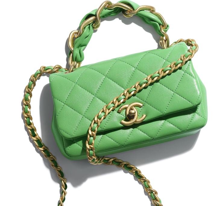 image 4 - Small Flap Bag - Shiny Lambskin & Gold-Tone Metal - Green