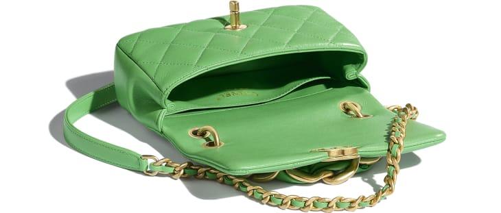 image 3 - Small Flap Bag - Shiny Lambskin & Gold-Tone Metal - Green