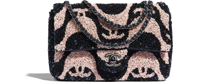 image 1 - Small Flap Bag - Sequins & Ruthenium-Finish Metal - Navy Blue & Pink