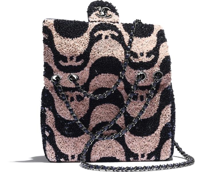 image 4 - Small Flap Bag - Sequins & Ruthenium-Finish Metal - Navy Blue & Pink