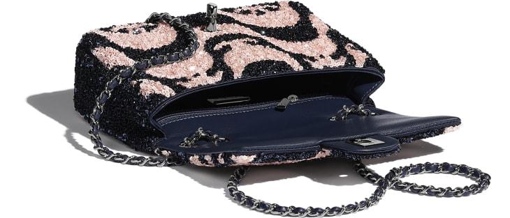 image 3 - Small Flap Bag - Sequins & Ruthenium-Finish Metal - Navy Blue & Pink