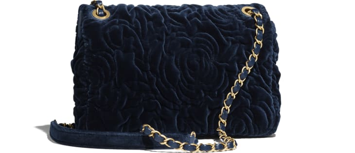 image 2 - Small Flap Bag - Velvet & Gold-Tone Metal - Navy Blue