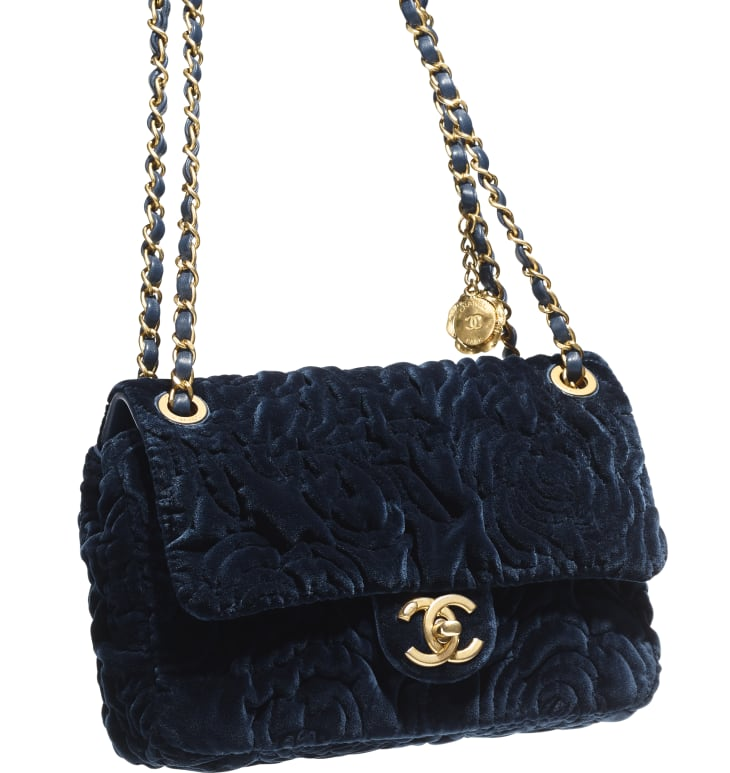 image 4 - Small Flap Bag - Velvet & Gold-Tone Metal - Navy Blue