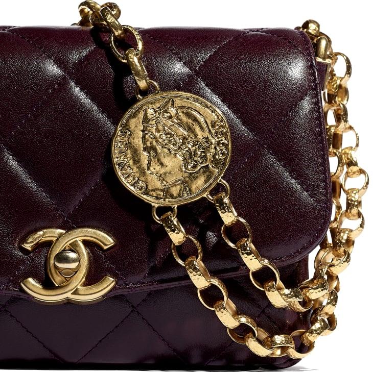 image 4 - Small Flap Bag - Lambskin & Gold-Tone Metal - Purple