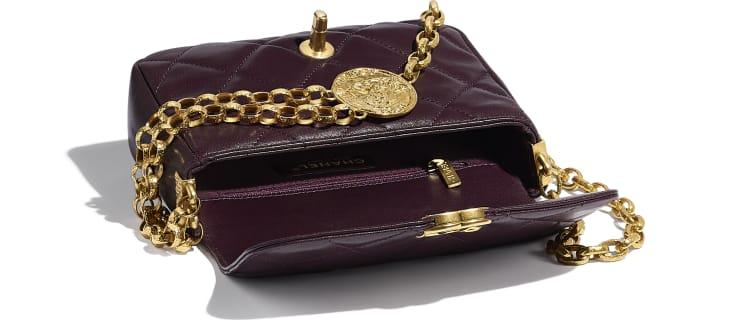 image 3 - Small Flap Bag - Lambskin & Gold-Tone Metal - Purple