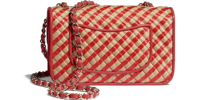image 2 - Small Flap Bag - Raffia, Jute Thread & Gold-Tone Metal - Red & Beige