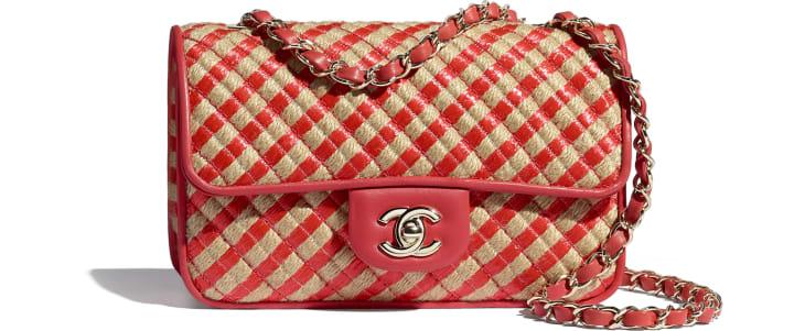 image 1 - Small Flap Bag - Raffia, Jute Thread & Gold-Tone Metal - Red & Beige